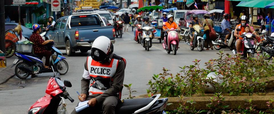Policeman at work close to Morning Market